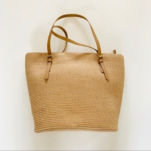 NWOT Natural Straw Zippered Kim Rogers Handbag